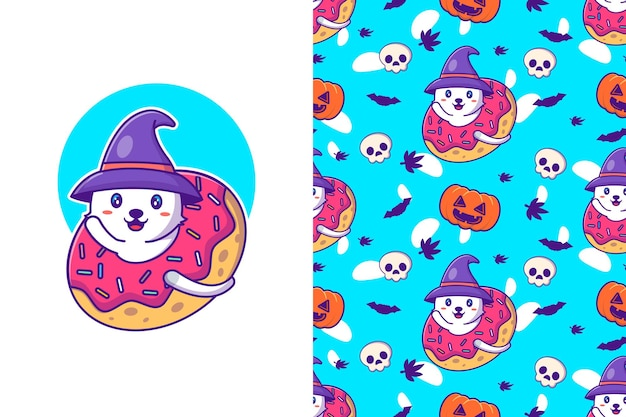 Cute witch cat happy halloween with seamless pattern