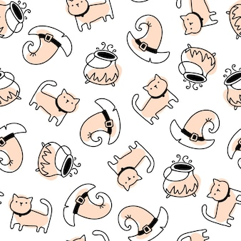 Cute witch cat and hat seamless halloween pattern in simple hand drawn childish cartoon doodle style