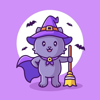 Cute witch cat holding broom and wearing hat halloween logo vector icon illustration in flat style