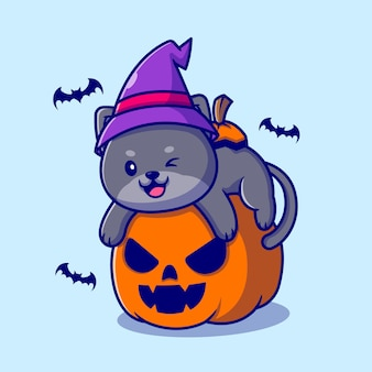 Cute witch cat hug pumpkin halloween cartoon illustration.