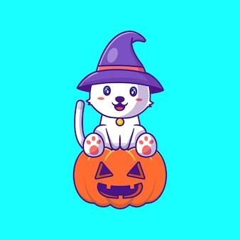 Милая ведьма кошка в тыкве счастливого хэллоуина карикатура иллюстрации