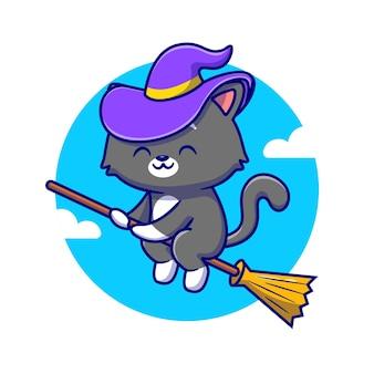 마법의 빗자루를 타고 귀여운 마녀 고양이