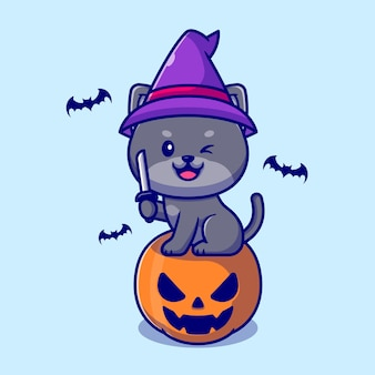 ナイフ漫画イラストを保持しているカボチャハロウィーンに座っているかわいい魔女猫。