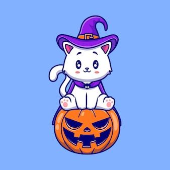 Cute witch cat sitting on pumpkin halloween illustration