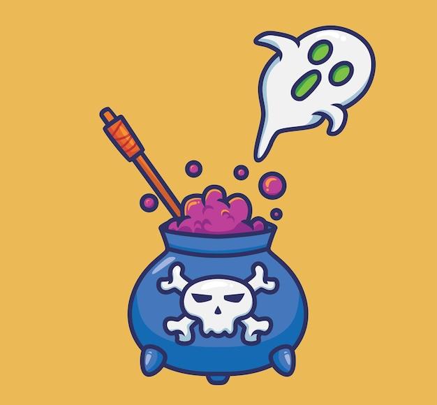 귀여운 마녀 가마솥 영혼. 만화 할로윈 이벤트 개념 격리 된 그림입니다. 스티커 아이콘 디자인 프리미엄 로고 벡터에 적합한 플랫 스타일. 마스코트 캐릭터