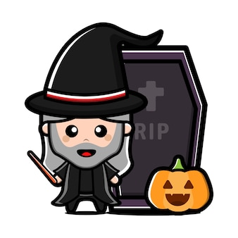 Cute witch character. halloween concept