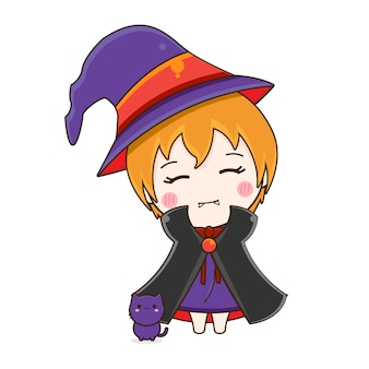 Cute witch character isolated on white background.
