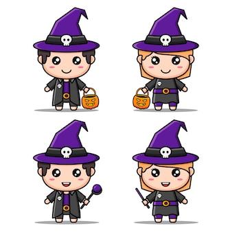 Набор персонажей хэллоуина в костюме милой ведьмы