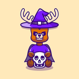 頭蓋骨を保持しているかわいい魔女の鹿