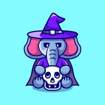 頭蓋骨を保持しているかわいい魔女の象