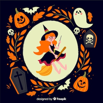 Cute witch flat hallowen background