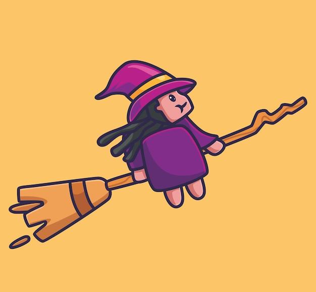 귀여운 마녀 비행 빗자루입니다. 격리 된 만화 할로윈 시즌 개념 그림입니다. 스티커 아이콘 디자인 프리미엄 로고 벡터에 적합한 플랫 스타일. 마스코트 캐릭터