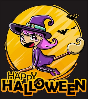 Cute witch flying on a broom vector illustration for halloween