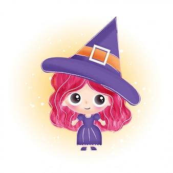ハロウィンカードのかわいい魔女。