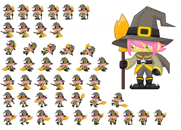 Cute witch game sprites