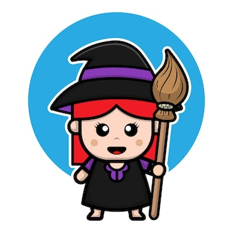 Cute witch girl costume cartoon character illustration