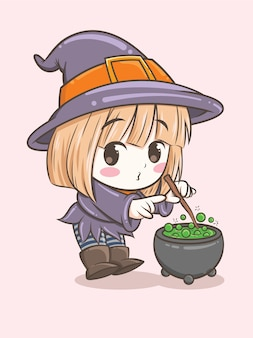 Cute witch girl playing with magic stick - cartoon character illustration for halloween