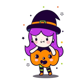 Cute witch girl with pumpkin cartoon