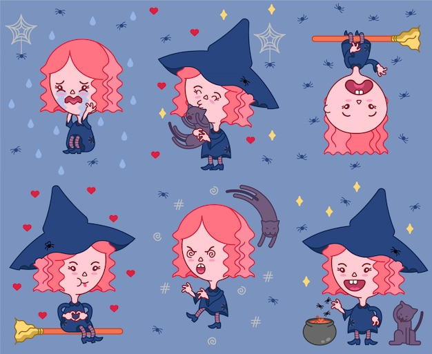 Cute witch halloween pack