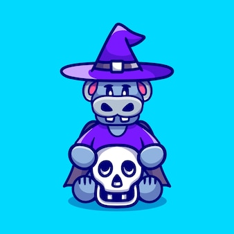 Cute witch hippo holding skull