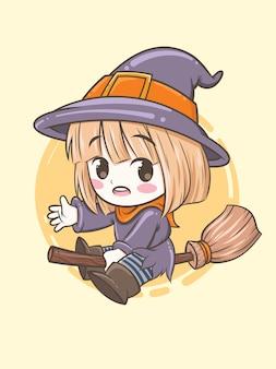 かわいい魔女が魔法のほうき-ハロウィーンの漫画キャライラストを使用して飛んでいます。
