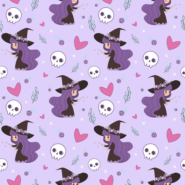 Cute witch making magic and skull seamless pattern