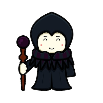 Cute witch mascot character with happy face holding magic staff cartoon vector icon illustration