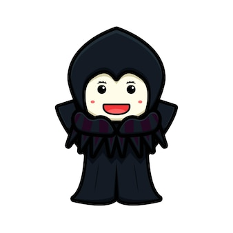 Cute witch mascot character with happy face and rise hands cartoon vector icon illustration. design isolated on white. flat cartoon style.