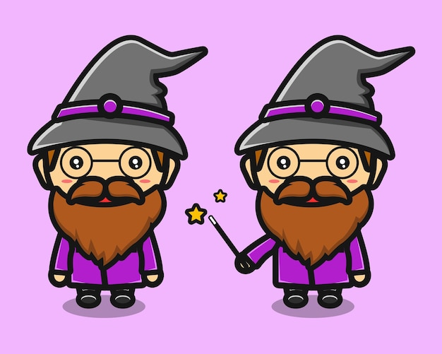 Cute witch old man cartoon with glasses
