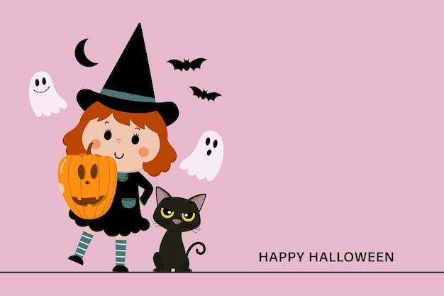 Милая ведьма оранжевая тыква и черный кот
