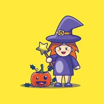 Cute witch and pumpkin cartoon illustration. hallowen icon concept.
