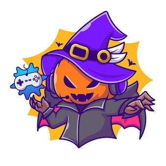 Cute witch pumpkin gaming cartoon vector icon illustration. halloween gaming icon