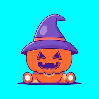 Милая ведьма тыква хэллоуин иллюстрации шаржа. хэллоуин плоский мультяшный стиль концепции