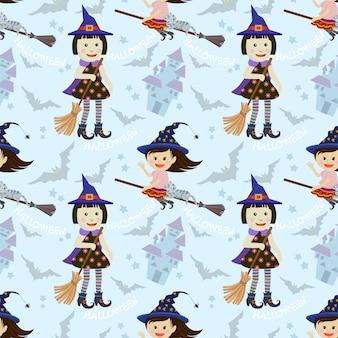 Симпатичные ведьмы бесшовные модели.