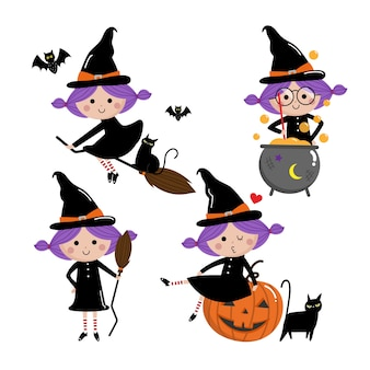 Cute witch vector set