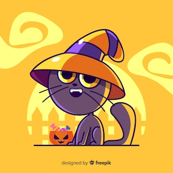 Cute witchy cat on yellow background