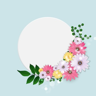 Cute with frame and flowers.  illustration