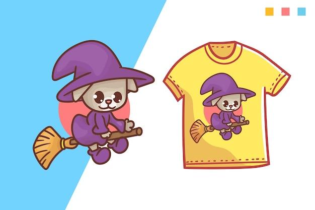 かわいい魔法使い猫のtシャツテンプレートデザイン