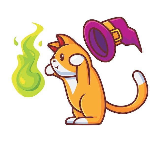 마법의 불을 사용하는 귀여운 마법사 고양이 격리 된 만화 동물 할로윈 개념 그림 플랫