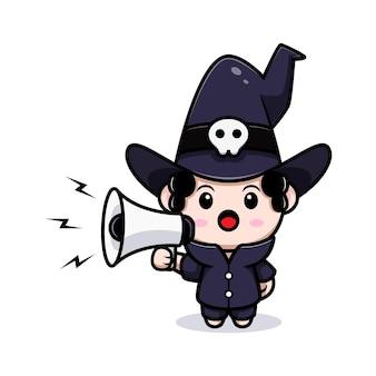 Cute wizard speaking on megaphone fairytale avatar character. cartoon illustration