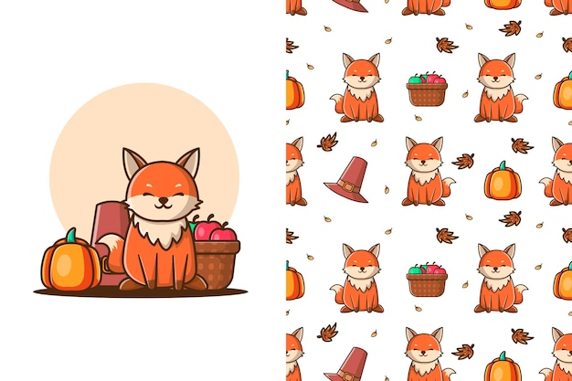 Cute wolf in autumn cartoon illustrations with seamless pattern