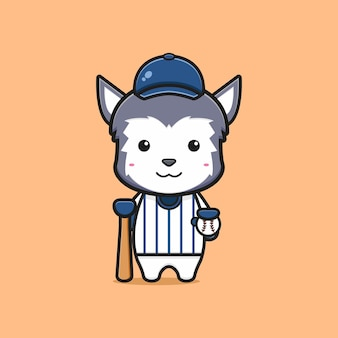 Cute wolf baseball player cartoon icon illustration. design isolated flat cartoon style