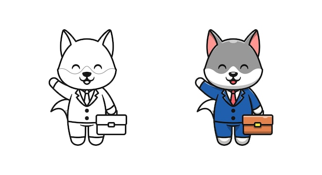 Cute wolf businessman cartoon coloring pages for kids