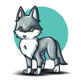 Cute wolf cartoon charactor. animal cartoon concept.