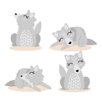 Cute wolf  cartoon element set