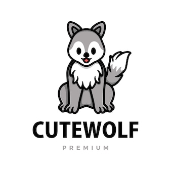 Cute wolf cartoon logo  icon illustration