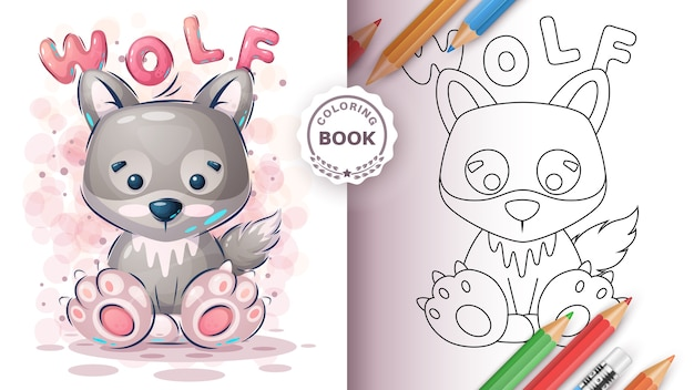 Cute wolf - coloring book for kid and children