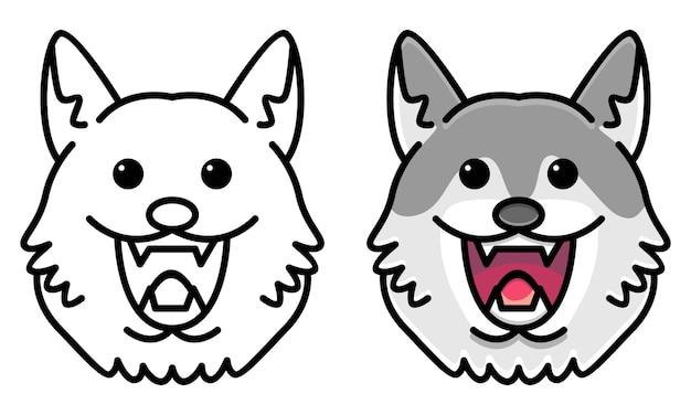 아이들을 위한 귀여운 늑대 색칠하기