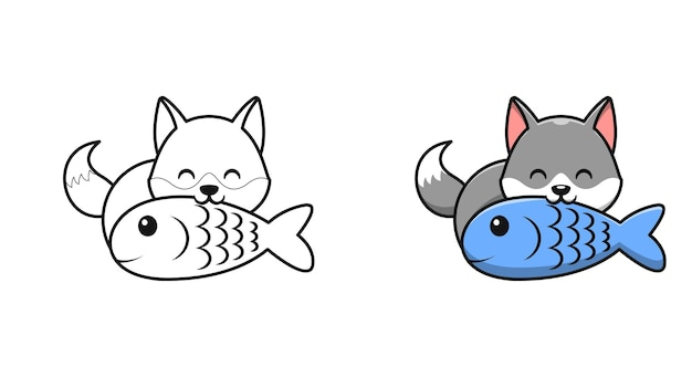 Cute wolf eating fish cartoon coloring pages for kids