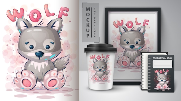 Cute wolf poster and merchandising
